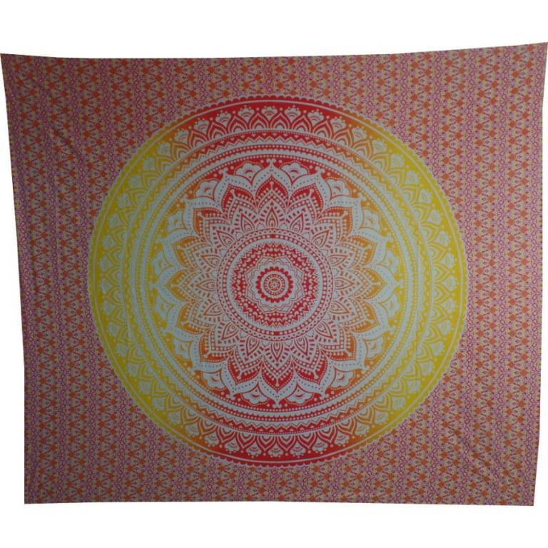 Tenture lotus jaune rouge - Coussin tapissier grand format ...