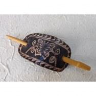 Barrette en cuir butterfly