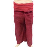 Pantalon thaï bordeaux bicolore