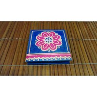 Porte-monnaie bleu 1 fleur rose