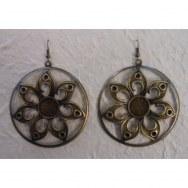 Boucles d'oreilles fleurs en métal