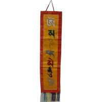 Bannière tibétaine verticale mantra de la compassion jaune