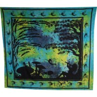 Tenture maxi au pays merveilleux vert et bleu
