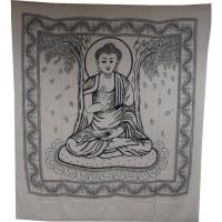 Tenture maxi Bouddha sous l'arbre Bodhi noir et blanc