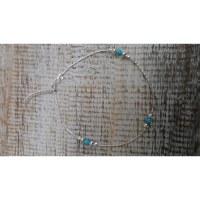 Bracelet  de cheville perles argent et bleues