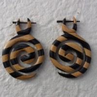 Boucles d'oreilles spirale en bois