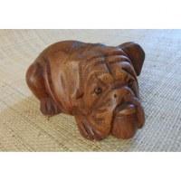 Sculpture bulldog en bois