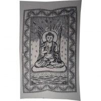 Tenture Bouddha sous l'arbre Bodhi noir et blanc