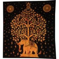Tenture maxi arbre de vie et éléphant noir et orange