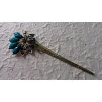 Pic à cheveux palmier strass bleu