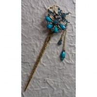Pic à cheveux butterfly strass bleu