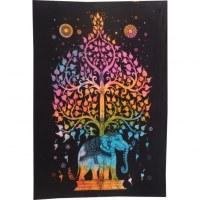 Mini tenture orange color arbre de vie et éléphant