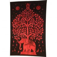 Tenture noir/rouge arbre de vie et éléphant