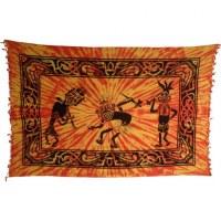 Tenture jaune/orange danse tribale