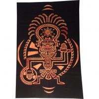 Tenture totem aztek noir/orange 2