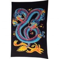 Tenture/paréo dragon 2 têtes bleu