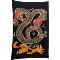 Tenture/paréo dragon 2 têtes vert