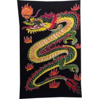 Tenture/paréo dragon vert/jaune tout feu tout flamme