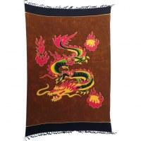 Tenture/paréo fire dragon marron
