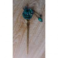 Pic à cheveux fleur strass turquoise