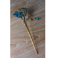 Pic à cheveux fleur strass bleu