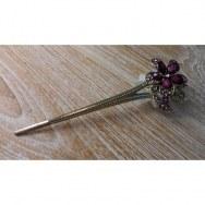 Pic à cheveux strass églantine rose/violet