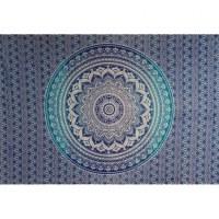 Tenture blanche lotus bleu/marine