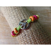 Bracelet peace & love pistache