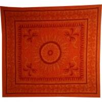 Tenture maxi fleur et arabesque orange
