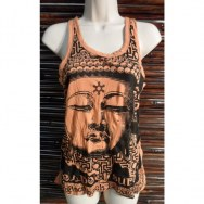 Débardeur femme orange Bouddha Angkor