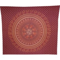 Tenture maxi bordeaux/ orange mandala les animaux