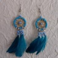 Boucles d'oreilles attrape rêves bleu plumes color
