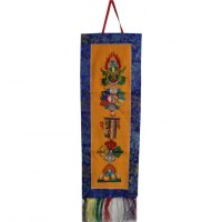 Thangka brodé les 5 symboles
