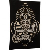 Tenture totem aztek noir et blanc