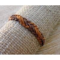 Bracelet kulit marron clair et foncé