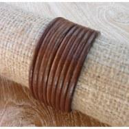 Bracelet cuir lanières marron