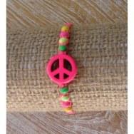 Bracelet macramé peace and love rose fluo