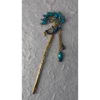 Pic à cheveux charms strass paon turquoise