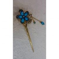 Pic à cheveux strass charms églantine bleue