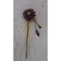 Pic à cheveux strass marguerite violette