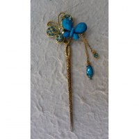 Pic à cheveux strass 2 papillons bleus