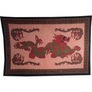 Tenture dragon asiatique rouge