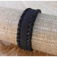 Bracelet cuir noir tressage 3