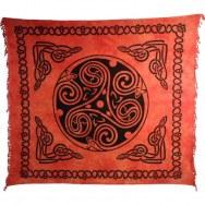 Tenture maxi tie and dye roue celte orange