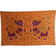 Tenture orange les 2 éléphants violets