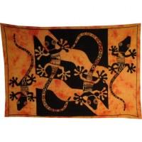 Tenture abstract salamandres orange