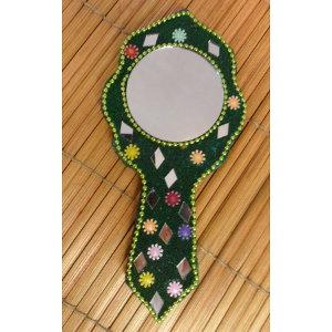 Miroir à main india vert