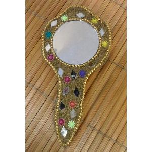Miroir à main india doré