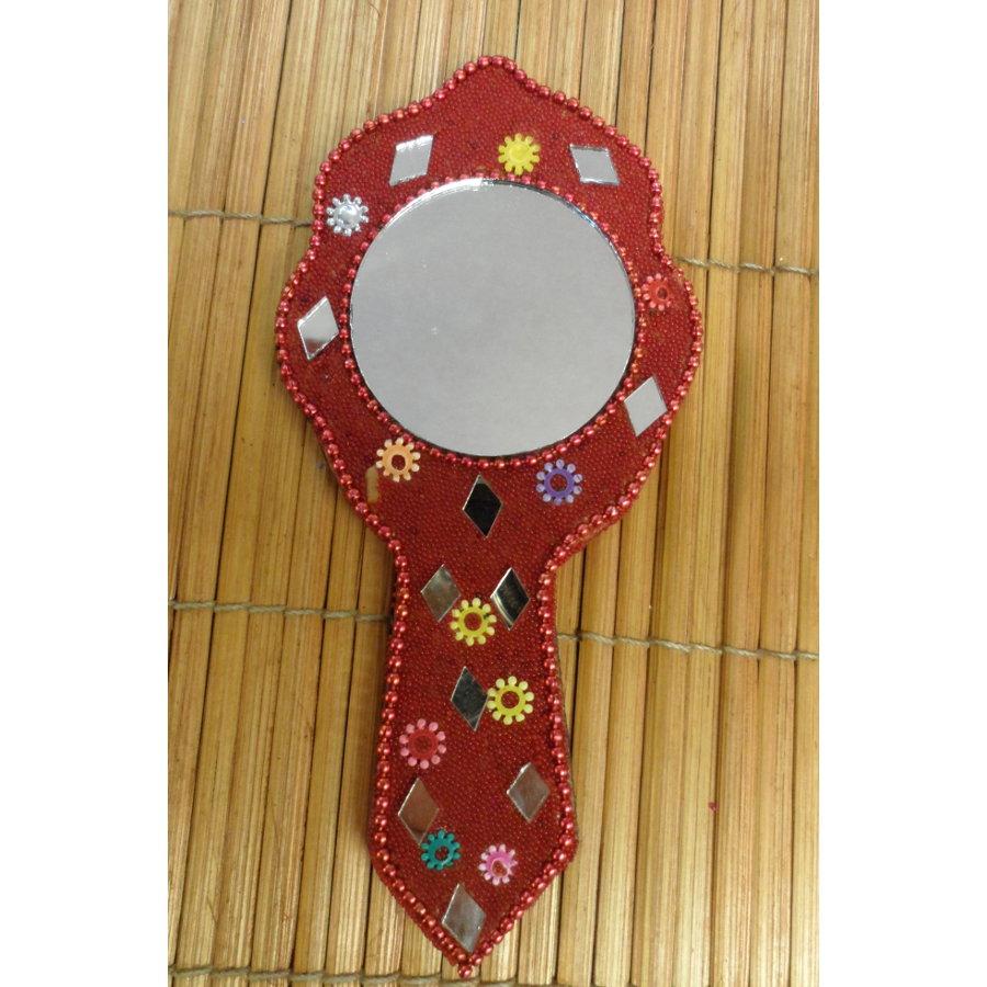 Miroir à main india rouge