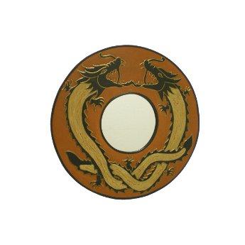 Miroir deux dragons dorés